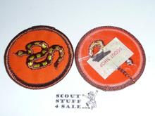 Rattlesnake Patrol Medallion, Orange Twill with plastic back, 1972-1989