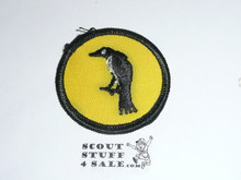 Raven Patrol Medallion, Yellow Twill with paper back, 1972-1989