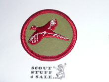 Pheasant Patrol Medallion, Olive Twill with plastic back, 1972-1989