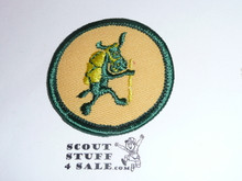 Pedro (hiking ) Patrol Medallion, Yellow Twill with plastic back, 1972-1989