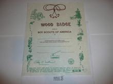 2000 Wood Badge Training Certificate, blank