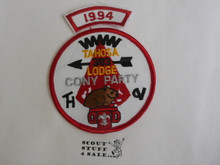 Tahosa O.A. Lodge #383 Lodge Cony Party 1994 Segment Patch, Only Segment Included