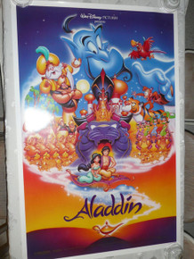 ALADDIN ORIG DISNEY MOVIE POSTER 1992 DOUBLE SIDED (1 reverse) w/serial number