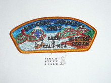1989 National Jamboree Western Region Area 3 JSP Shoulder Patch - Scout