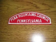 Penn Mountains Council Red/White Council Strip - Scout