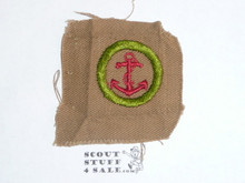 Seamanship - Type A - Square Tan Merit Badge (1911-1933), lt use, oversized cloth