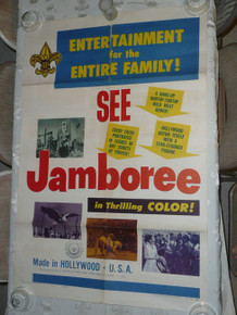 RARE 1953 Boy Scout National Jamboree Poster Promoting Jamboree Film, seam tears and other tears that may not be visible in images, should frame well with work
