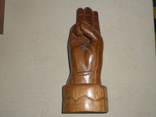 "Carved Wood Hand making the Scout Sign, 10"" Tall HEAVY  - Boy Scout"
