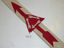 """1930's Felt Vigil Order of the Arrow Sash With Felt Arrow, Felt Triangle and Felt Arrows in Triangle, Fat Felt Arrows, Used, Some Mothing to Vigil Triangle(A Little Elsewhere), Lined on Back, Did Have Owners Name But Was Removed 29"""""""