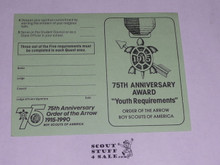 Order of the Arrow YOUTH Record Card for the 75th OA Anniversary Arrowman Service Award