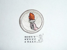 Sports (silver bdr)- Type H - Fully Embroidered Plastic Back Merit Badge (1971-2002)