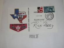 2005 National Jamboree Envelope with Jamboree Cancellation and autographed by Roy Williams and Rick Perry (TX Gov.)