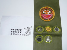 1960 Boy Scout Merit Badge Sash with 5 twill r/e merit badges and a 1960 National Jamboree Patch