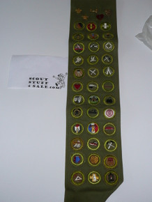 1950's Boy Scout Merit Badge Sash with 36 Crimped Merit badges and rank pins