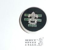 Senior Patrol Leader Hat Pin, Squat Crown, Dark Green Enamel, Threaded Post Back, Silver wash