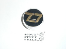 "Teens Uniform Unit Number Collar Brass, ""77"", custom made with crude clasp back"