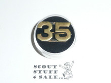 "Teens Uniform Unit Number Collar Brass, ""35"", custom made with crude clasp back"