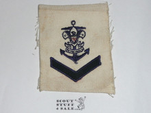 Sea Scout Position Patch, Coxswain with felt chevron on white twill, 1930's