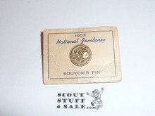 1953 National Jamboree Pin on issue card