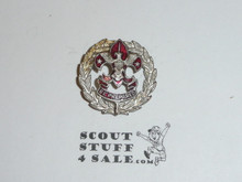 Scout Executive Collar Brass, Squatty Crown, Threaded Post with backing, RARE Variety