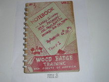 Wood Badge Training Notebook, 1949, fully completed and written in