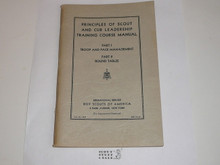 """Principles of Scout Leadership Part I and II, Scout and Cub Leadership Training Course Manual, 1st printing """"for experimental purposes"""", 12-38 printing"""