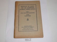 "Principles of Scout Leadership Part I and II, Scout and Cub Leadership Training Course Manual, 1st printing ""for experimental purposes"", 1930's"