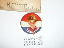 Front view Boy Scout Red/White/Blue Celluloid Boy Scout Button, 1940's