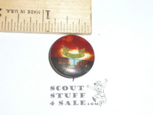 Pledged to be a First Class Scout Boy Scout Tin Button, 1950's-60's, celluloid darkened