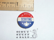 I've Invested in Scouting Celluloid Boy Scout Button, 1950's