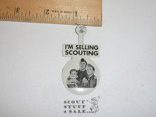 I'm Selling Scouting Boy Scout Tin Button, 1940's