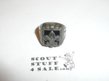 Silver Boy Scout Ring, SILVER with black background, tarnished