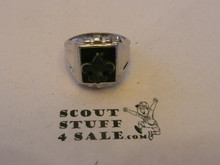Silver Boy Scout Ring, SILVER with black background, Size 8