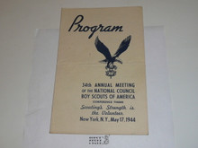 1944 34rd Annual National Boy Scouts of America Meeting Program