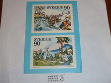 1979 World Jamboree Post Card, Postage Stamps pictured with Dalajamb postal cancellation