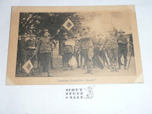 Sending Semaphore Signals, Official Boy Scout Post card, 1915