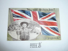 Teen's British Boy Scout Postcard, Why Need Britain In Fear? Be Prepared, has pull out pictures on front