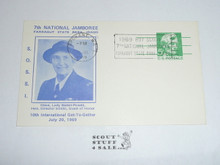 1969 National Jamboree SOSSI Postcard For Lady Baden Powell Get Together And Cancelled with National Jamboree Cancellation