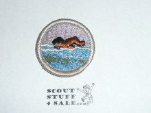 Swimming (needle break) - Type H - Fully Embroidered Plastic Back Merit Badge (1971-2002)