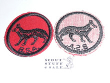 Jackal Patrol Medallion, Felt w/BSA & Solid Black Ring back, 1933-1939