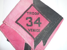 Crescent Bay Area Council, Venice Troop 34 Neckerchief, Medium Use and Fade