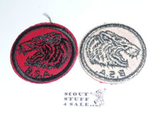 Tiger Patrol Medallion, Red Twill with gum back, 1955-1971