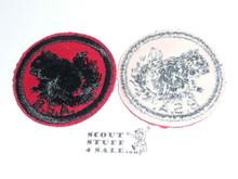 Squirrel Patrol Medallion, Red Twill with gum back, 1955-1971