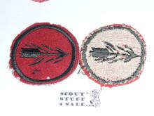 Blazing Arrow Patrol Medallion, Felt No BSA & Gauze Back, 1927-1933, used