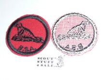 Seal Patrol Medallion, Felt w/BSA black/White ring back, 1940-1955