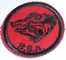Wild Boar Patrol Medallion, Felt w/BSA & Solid Black Ring back, 1933-1939