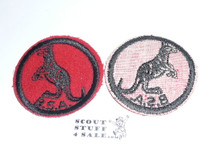 Kangaroo Patrol Medallion, Felt w/BSA & Solid Black Ring back, 1933-1939