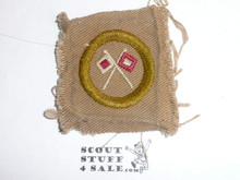 Signaling - Type A - Square Tan Merit Badge (1911-1933), black striped back, used