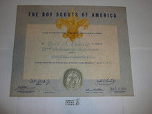 1964 Professional BSA Certificate for attendance at 72nd Fellowship Conference at Schiff, presented