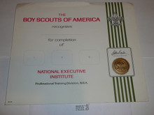 1960's National Executive Institute Professional BSA Certificate, blank